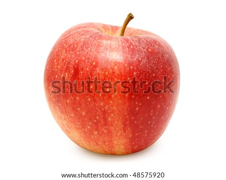 Red apple isolated on white background, studio shot.