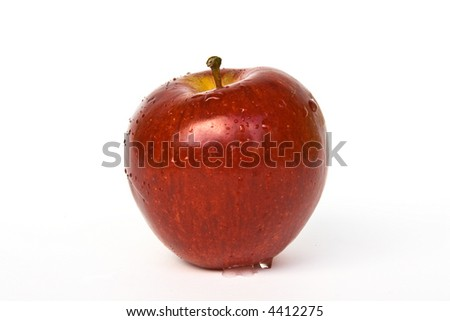 Red apple isolated on white background with fresh water on it