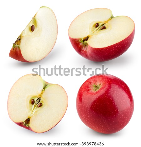 Red apple isolated on white. Collection. With clipping path - stock photo
