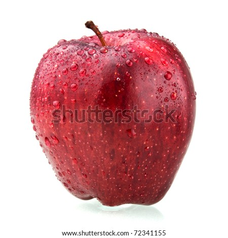 red apple isolated on white with drop of water - stock photo