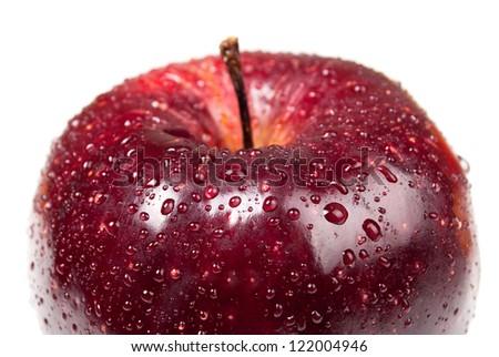 Red apple. Macro. - stock photo
