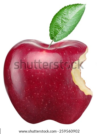 Red apple on a white background. Clipping paths. - stock photo