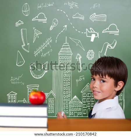 Red apple on pile of books against cute pupil holding chalk - stock photo