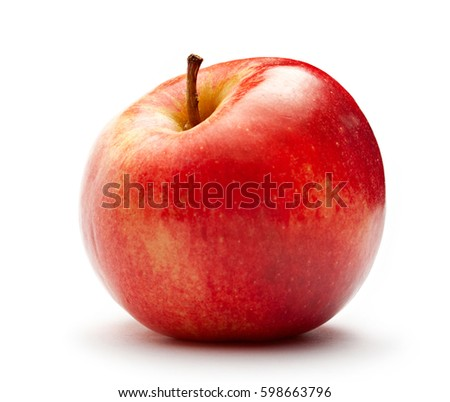 Red apple on the white in closeup