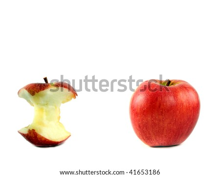red apple on white background with eaten apple - stock photo