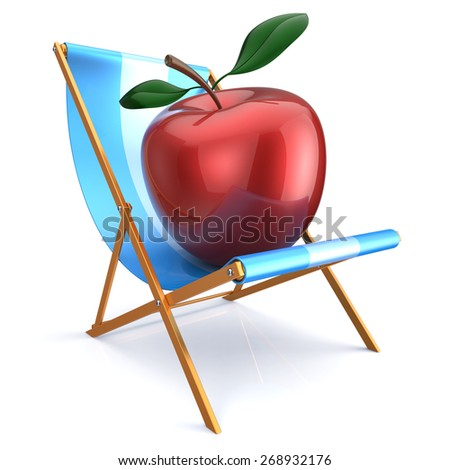 Red apple sitting in beach chair relax. Beauty healthy fresh food diet summer open air nutrition vegetarian concept. 3d render isolated on white - stock photo