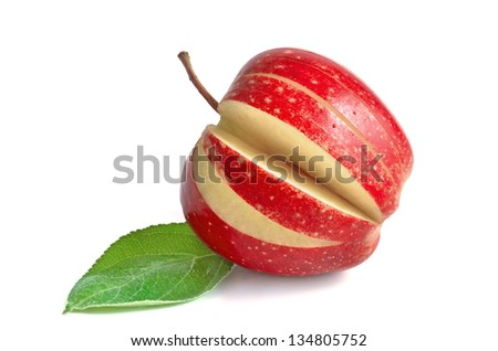 Red apple sliced sections, on white background - stock photo