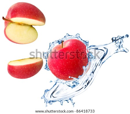 Red apple slices with water splash