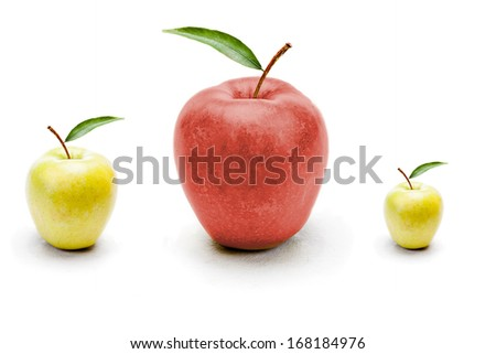 Red apple standing out from the green apples - stock photo
