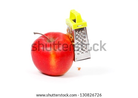 Red apple which Grate, on a white background - stock photo