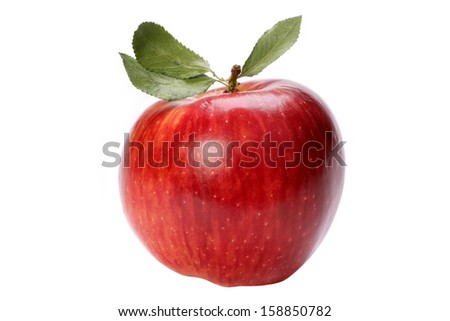 Red apple with a leaf on a white background