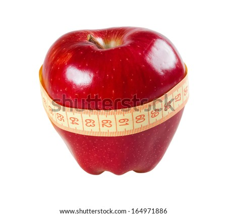 red apple with a tape measure - stock photo