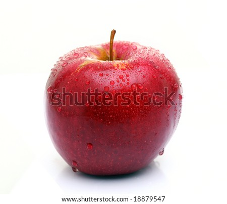red apple with drop of water isolated on white background (shallow DOF) - stock photo