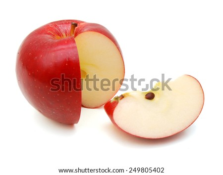 Red apple with leaf and slice on a white background.  - stock photo