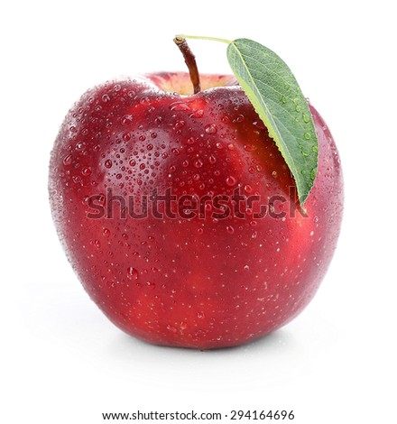 Red apple with leaf isolated on white - stock photo