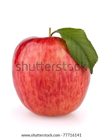 Red apple with leaf isolated on white