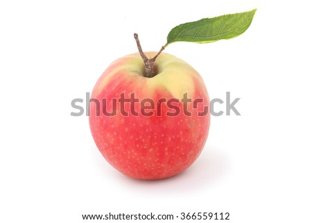 Red apple with leaf isolated on white background