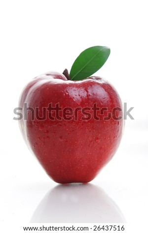 Red apple with leaf on white background