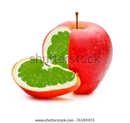 red apple with lime fillings, genetically modified organism - stock photo