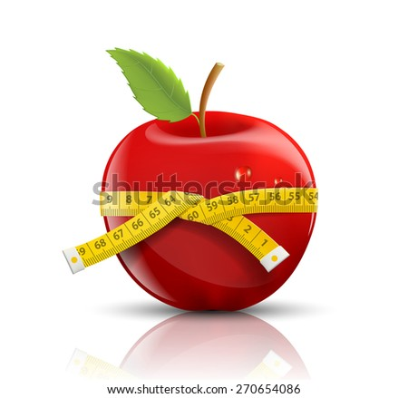 red apple with measuring tape isolated on white background - stock photo