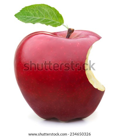 Red apple with missing a bite isolated on white background - stock photo