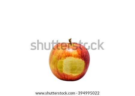 Red apple with piece bitten off
