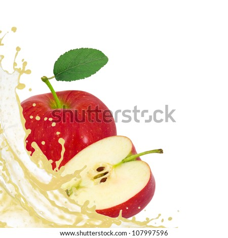 Red apple with splash isolated on white - stock photo