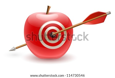 Red apple with target hit with arrow