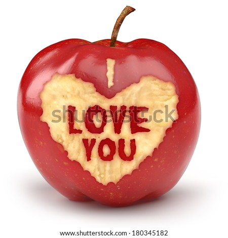 Red apple with text I LOVE YOU bitten into the apple. Valentine or Love & Romance creative concept.