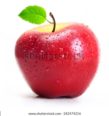 Red apple with water drops isolated on white background. - stock photo
