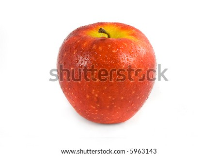 Red apple with water drops on white background
