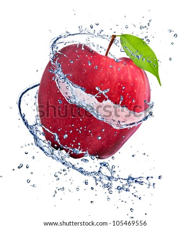 Red apple with water splash, isolated on white background - stock photo