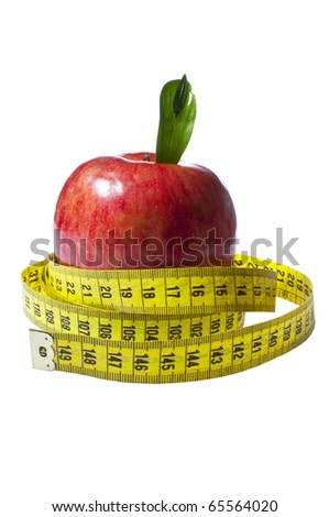 Red apple with yellow measuring tape isolated on white background