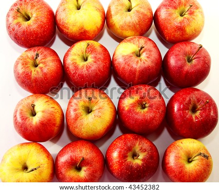 Red apples drawn up abreast - stock photo