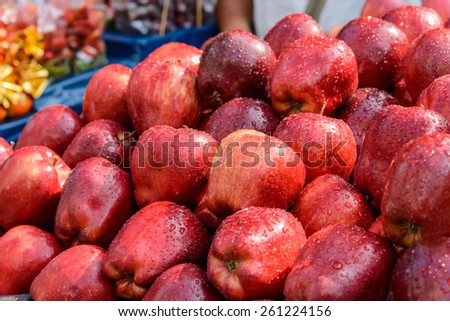 Red apples in market. - stock photo