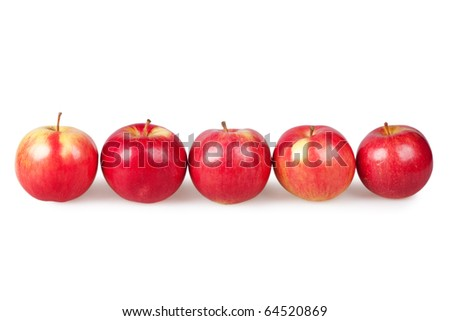 red apples isolated on the white - stock photo