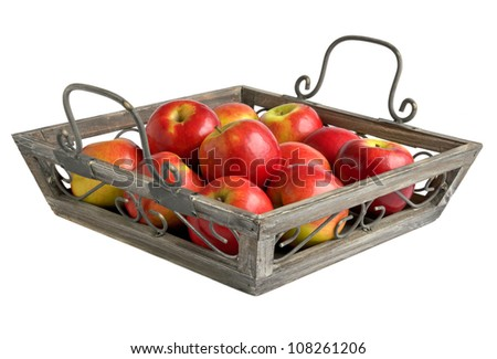 Red apples on a tray isolated on white. - stock photo
