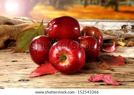 red apples on window  - stock photo