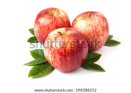 red apples pile on white background - stock photo