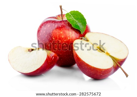 Red apples with leaf and half section isolated on a white background - stock photo