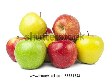 Red apples with leaves isolated on white - stock photo