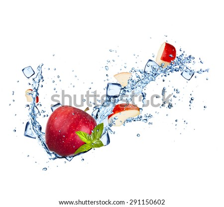 Red apples with water splashes and ice cubes isolated on white background - stock photo