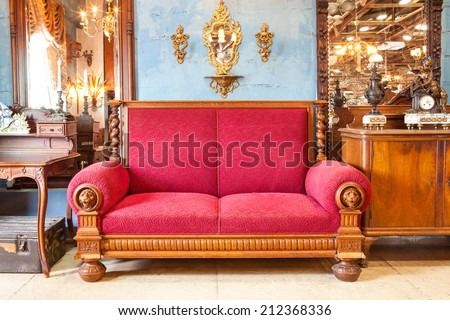 Red Arabian Classic style sofa decorate in Vintage Theme - stock photo