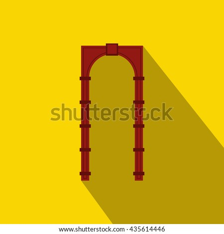 Red arch icon, flat style - stock photo