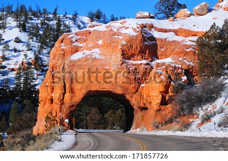 Red Arch road tunnel , Bryce Canyon - stock photo