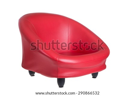 Red Arm chair isolated on white background