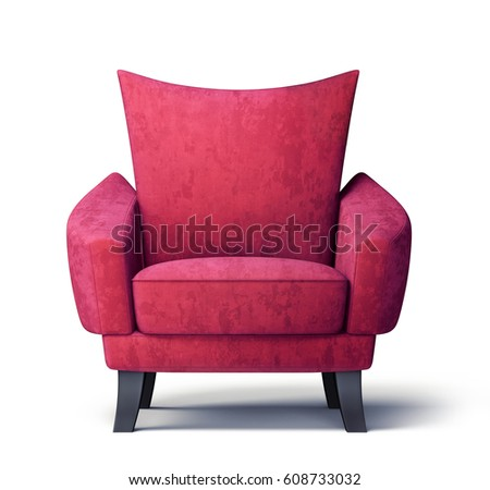 Red Armchair Isolated On A White Background