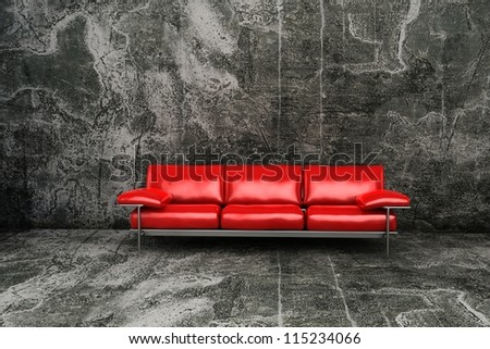 red armchair on grunge background - stock photo