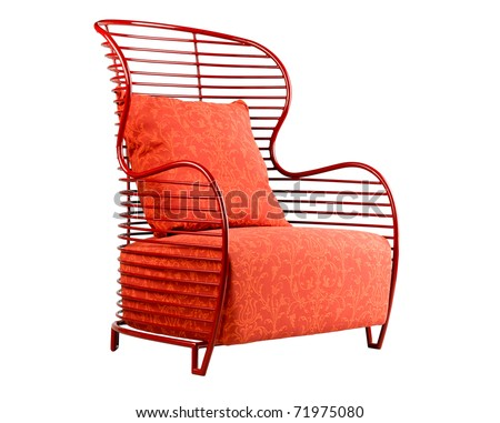 Red armchair suitable for your relaxing time - stock photo