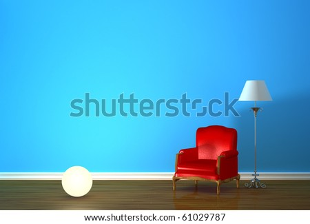 Red armchair with lighting sphere and standard lamp in blue minimalist interior